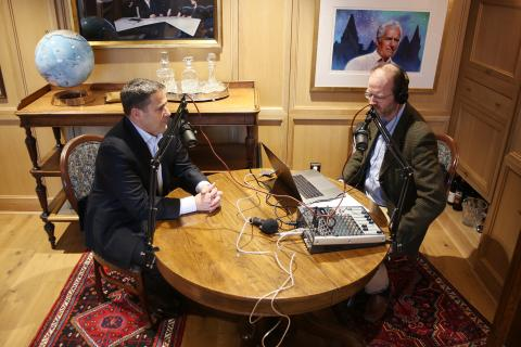 Andrew Prossin and David McGuffin in the Sir Christopher Ondaatje Reading Room at RCGS headquarters