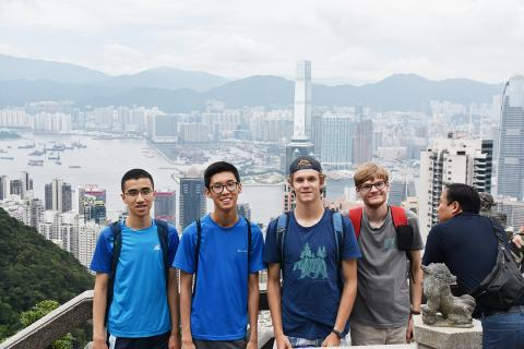 Jerry Sun, Andrew Ding, Jake Douglas and Ben Woodward in Hong Kong