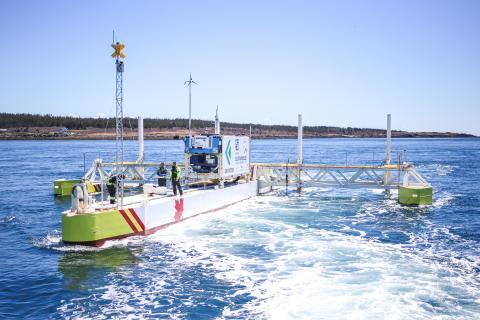 PLAT-I tidal energy platform in Grand Passage, May 2019