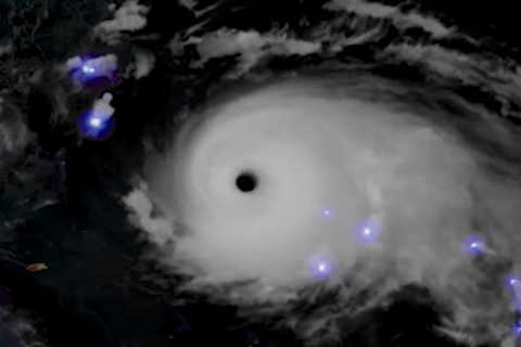 Lightning inside Hurricane Dorian as seen from space
