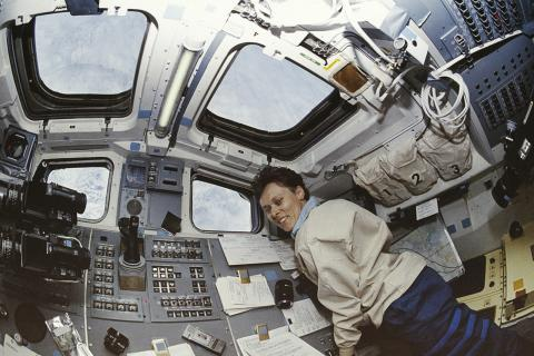 Roberta Bondar on space shuttle discovery