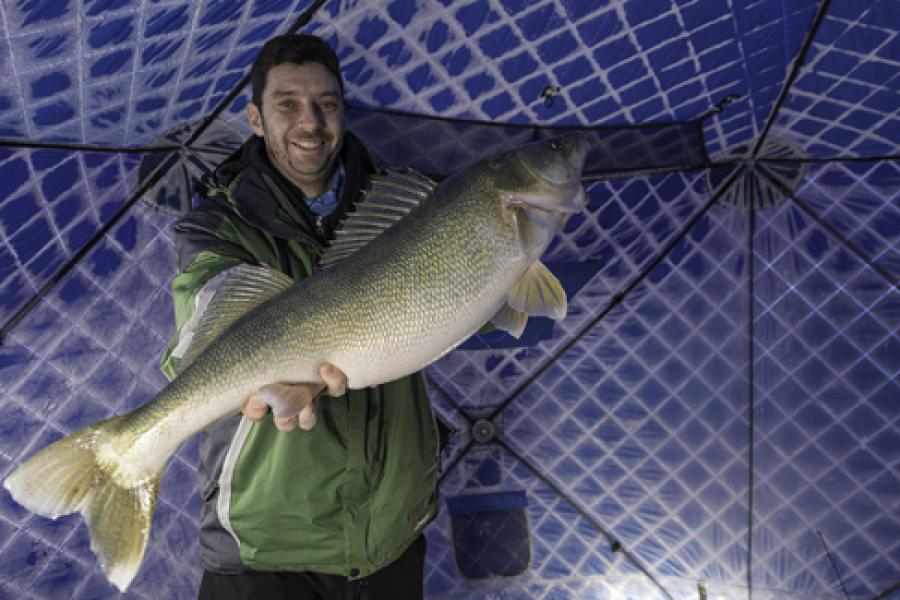 Canadian Geographic editor Aaron Kylie with a 73.66-centimetre-long walleye caught through the ice on Lake Winnipeg near Matlock, Man., on Feb. 18, 2015. (Photo: Javier Frutos)