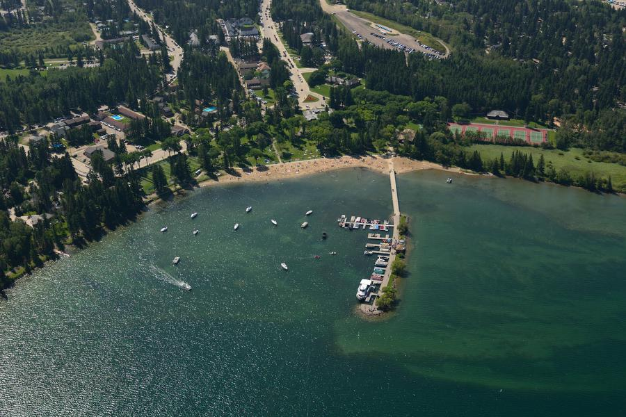 Aerial of the Clear Lake marina, the main beach and town of Wasagaming's in Riding Mountain National Park (Photo: Robert Tinker/Canadian Geographic)