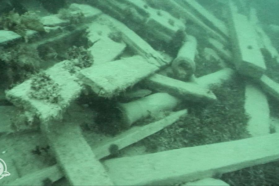 Image captured by a remotely operated vehicle (ROV) showing two small cannons among the scattered timbers of the shipwreck