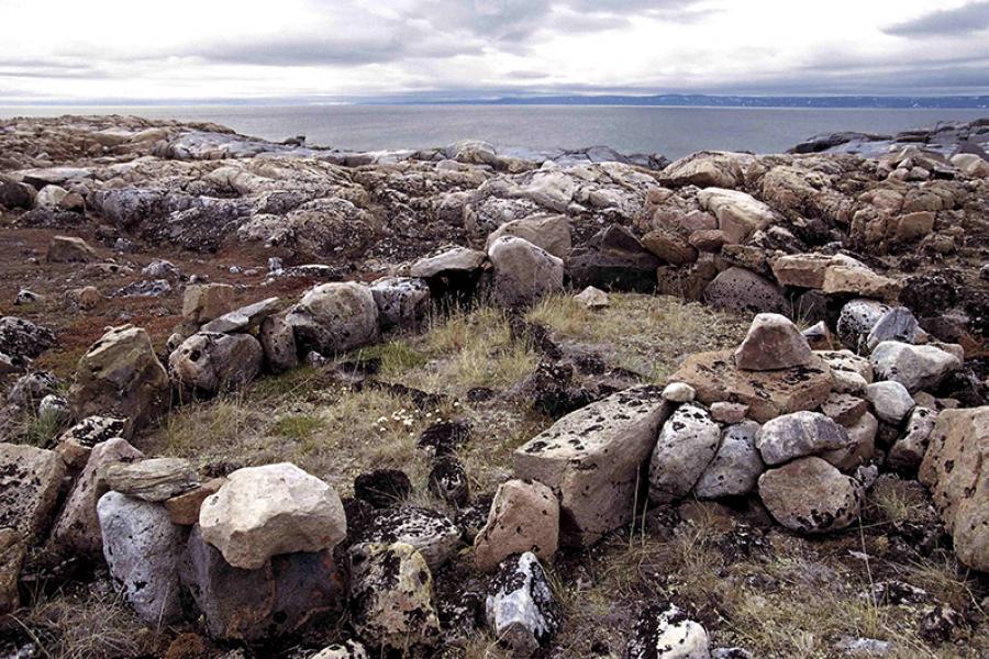 A tent ring in Nunavut.