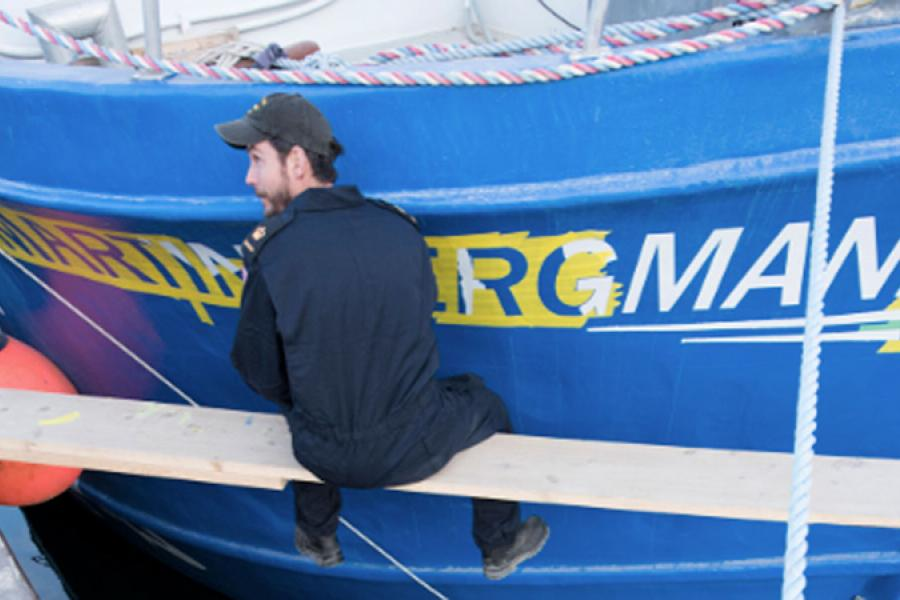 Preparation of the Martin Bergmann, before it set sail on the Victoria Strait Expedition