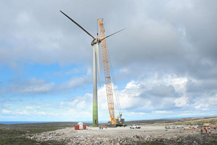 One of Diavik Diamond Mine's four new 2.3-megawatt wind turbines