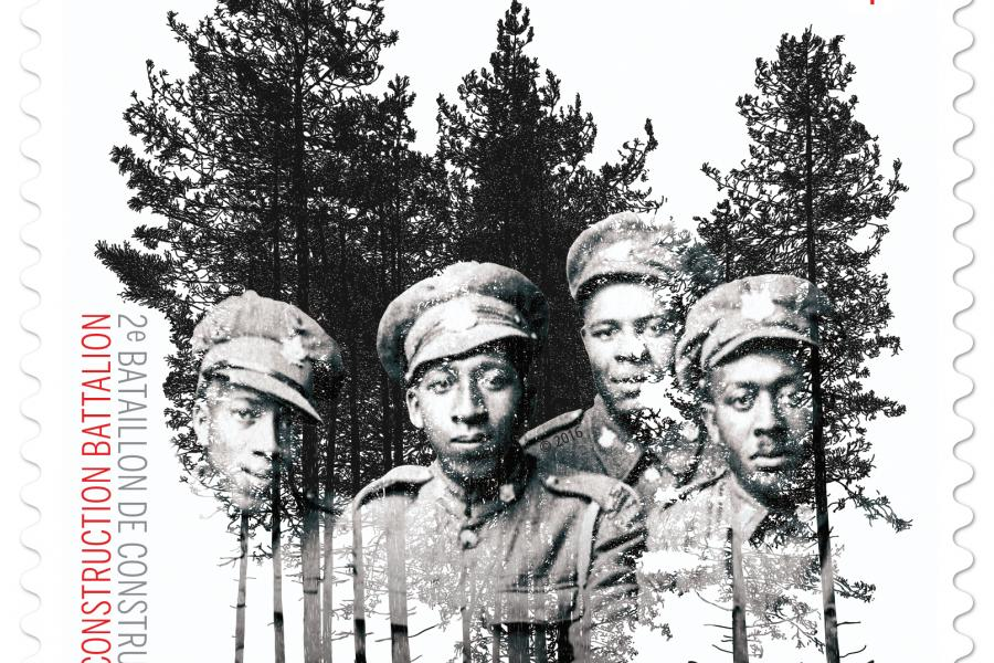 Canada Post's new stamp honouring the No. 2 Construction Battalion