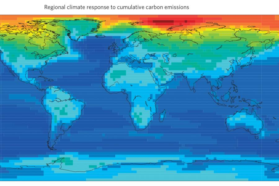 This map, produced in conjunction with a global climate change study, shows global warming is disproportionately affecting the Arctic