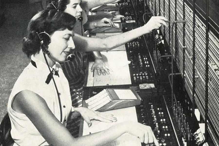 Telephone operators connect long distance calls in one of Canada's busiest switchboards in the 1950's.