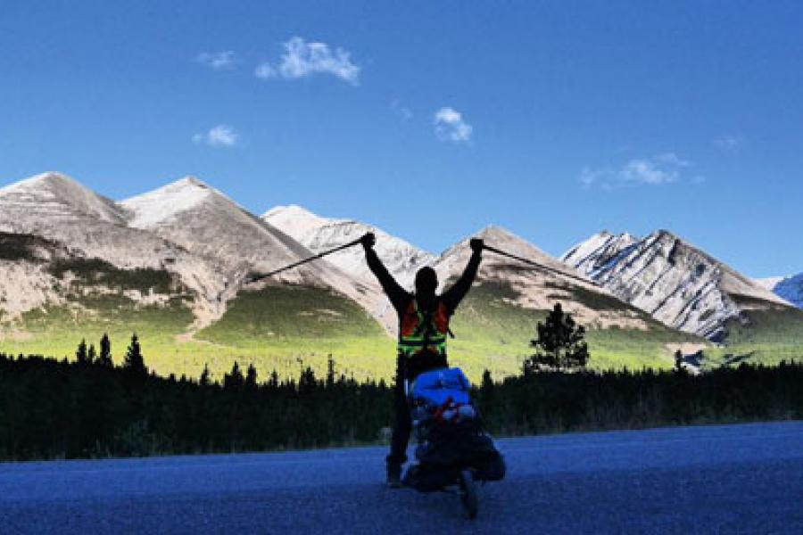 A photo of Dana Meise during his coast-to-coast-to-coast hike along the Trans Canada Trail.