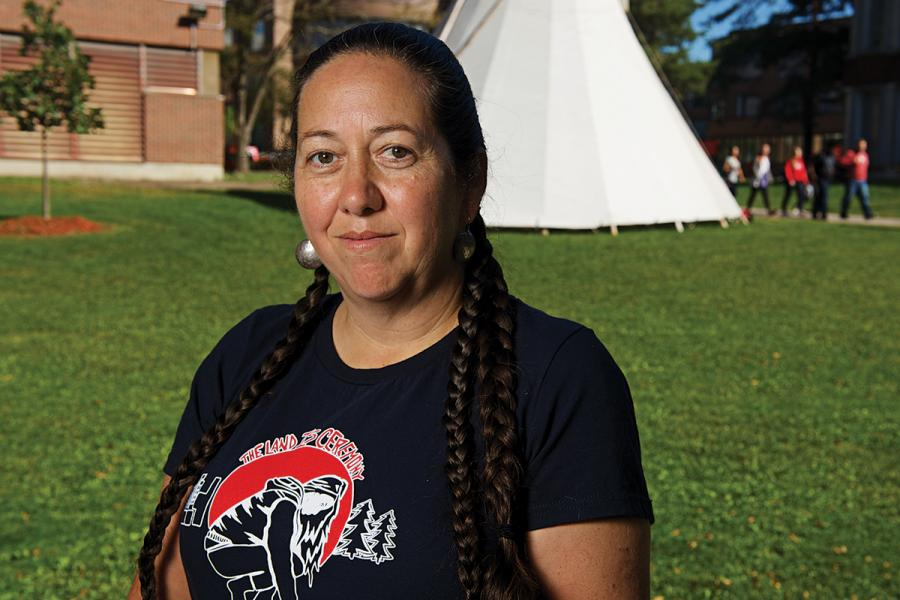 Christi Belcourt at an Aboriginal event at Carleton University. (Photo: David Barbour/Canadian Geographic)