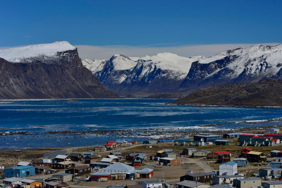 Mountains lay beyond Pangirtung, Nunavut.