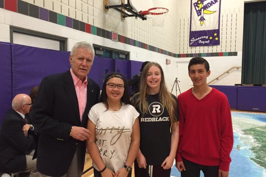 Alex Trebek with students from Robert Bondar Public School in Ottawa, Ont. (Photo: RBPS staff)