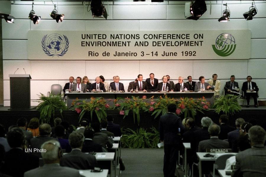 A view of the presiding table at the United Nations Conference on Environment and Development in 1992