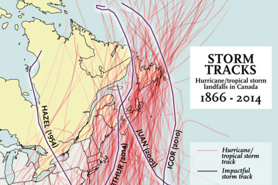 Tracks of every hurricane or tropical system that has made landfall in Canada since 1866. Storms of significance are outlined in black
