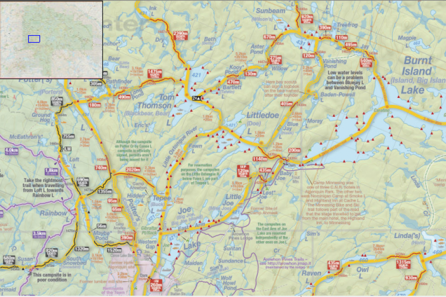 A portion of the Jeff's Map of Algonquin provincial park