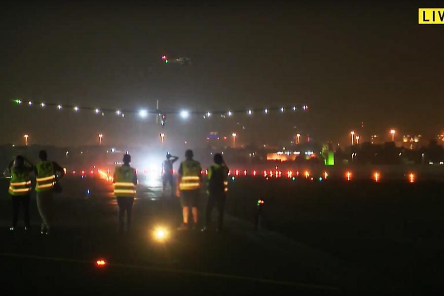 The Solar Impulse 2 aircraft lands in Abu Dhabi