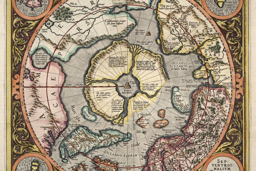 Septentrionalium terrarum descriptio, Gerard Mercator (1512-1594), 1613. Baldwin Collection of Canadiana, Toronto Public Library
