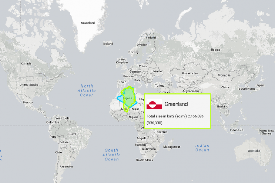 A map showing Greenland's actual size compared to its Mercator projection portrayal