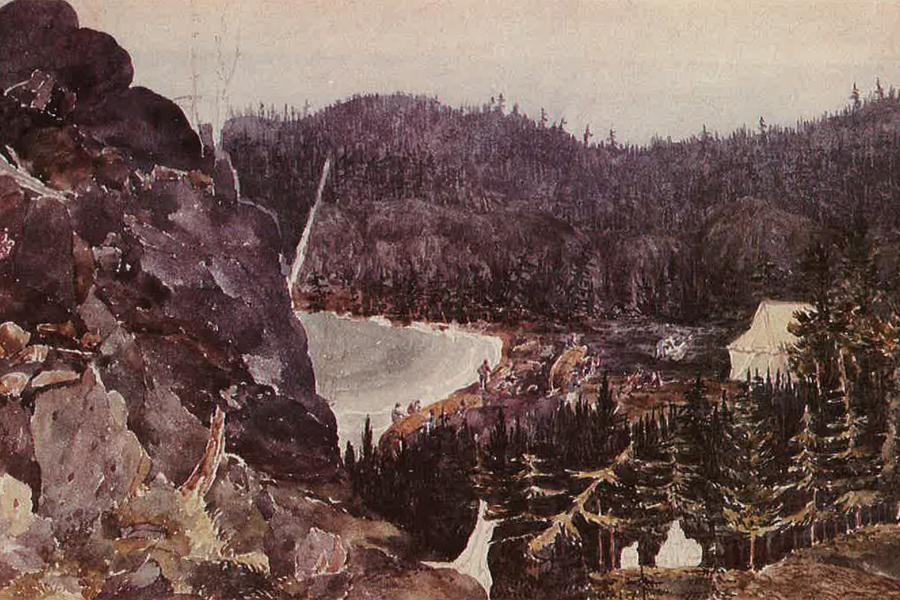An 1825 watercolour of an unnamed bay on Lake Superior during a storm