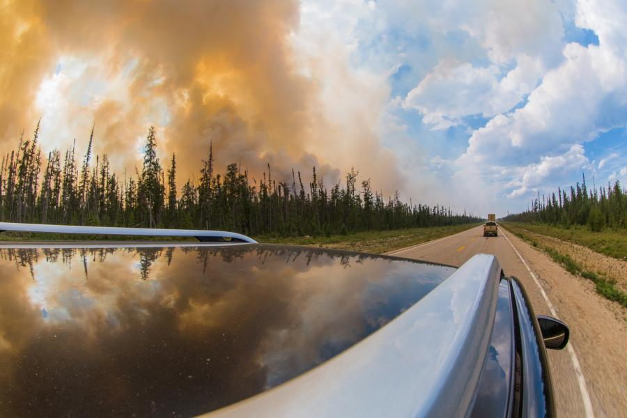 A controlled burn between Hay River and Yellowknife, NWT in July 2014