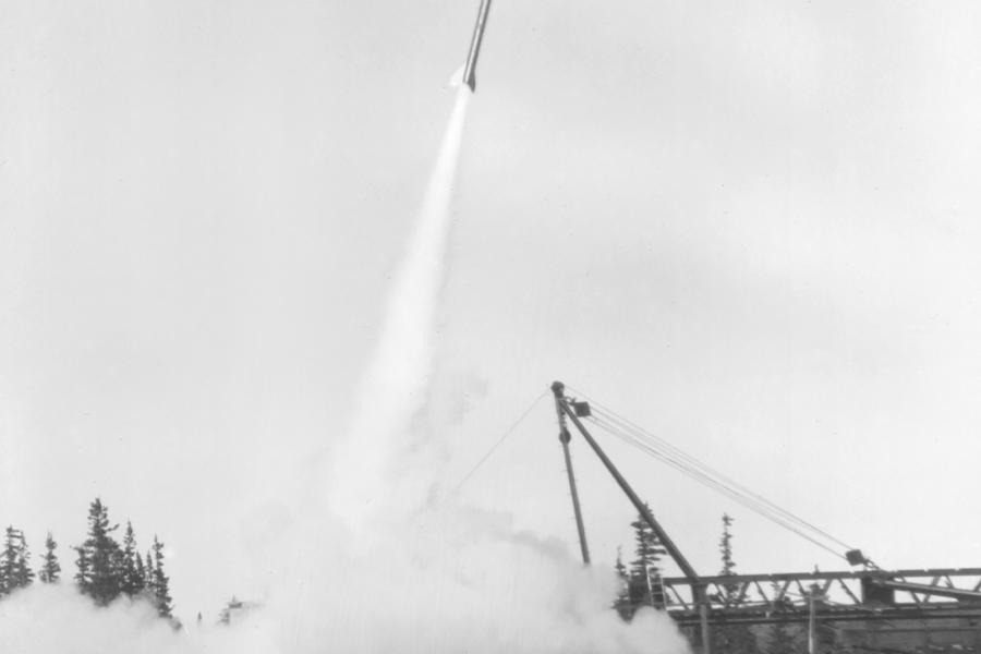A rocket is launched at the Churchill Rocket Research Centre in an undated photo