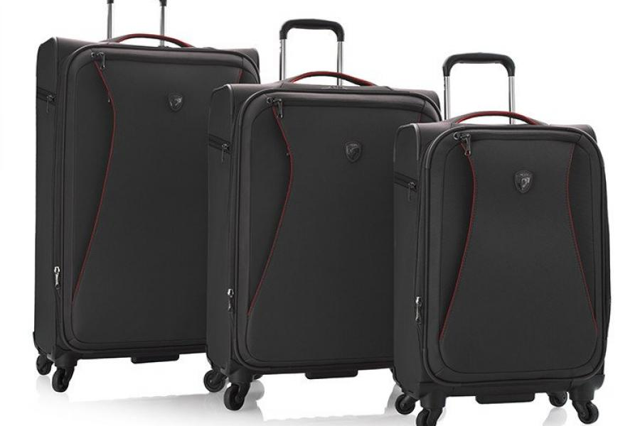 A black three-piece luggage set