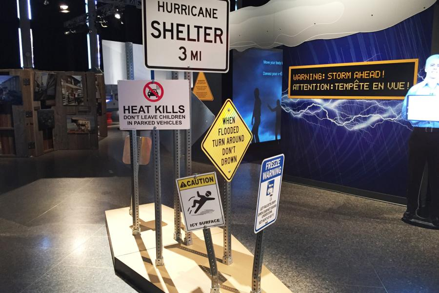 A display at the Ontario Science Centre's 2016-17 exhibit, Wild Weather