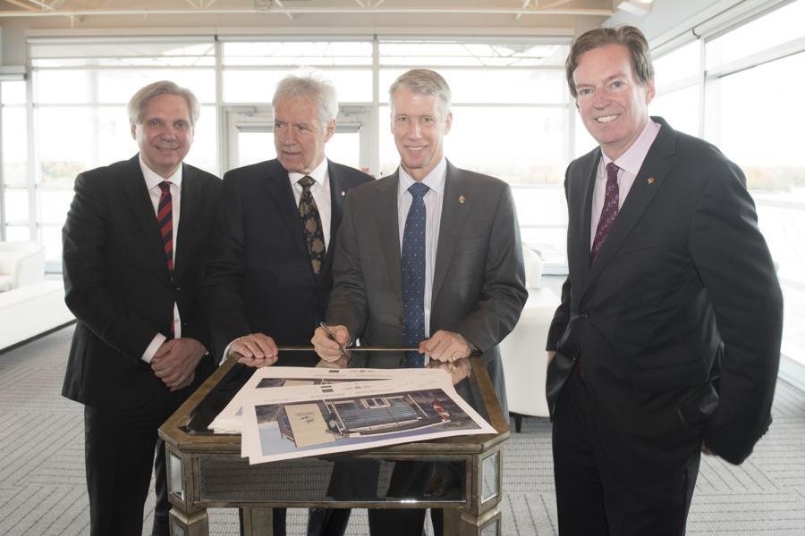 Mark Kristmanson, Alex Trebek, Andrew Leslie and John Geiger at the 50 Sussex announcement