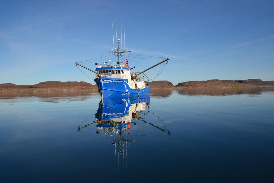 The MV Martin Bergmann, floating research base for the marine ecosystem study