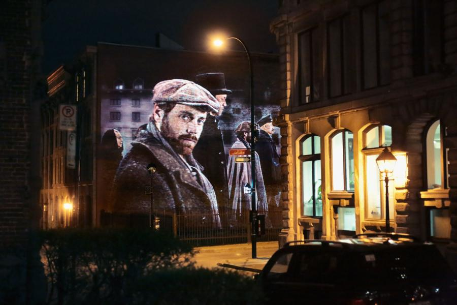 Cite Memoire projection art in Montreal