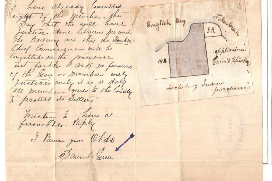 Close up image of the Sam Greer's hand drawn letter and land claim. The claim would have included all of what is now Kits Beach and Kits Point (not Vanier Park).