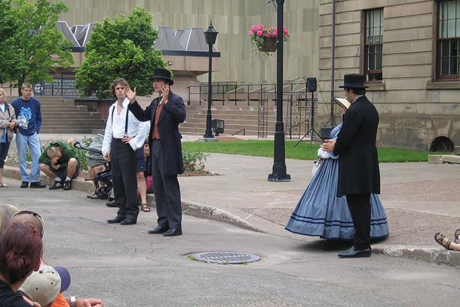 Reenactment of Confederation in front of the provincial parliament building in Charlottetown