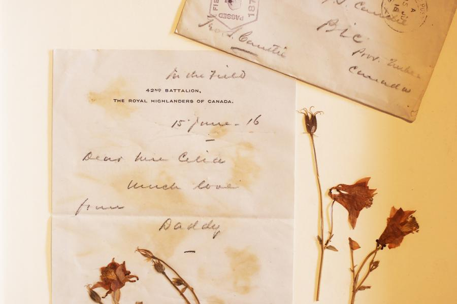 1916 letter from George Cantlie to daughter Celia Cantlie with pressed flowers