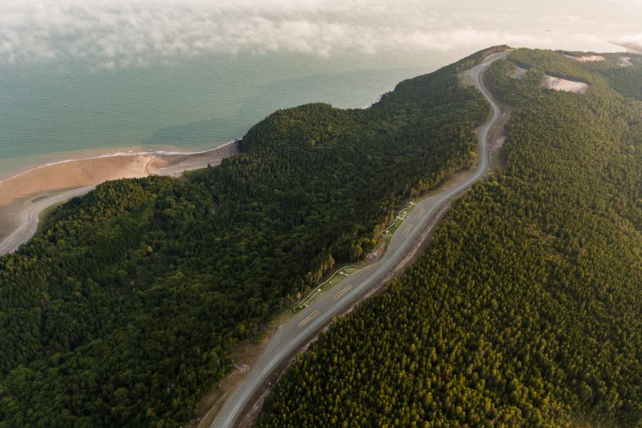 Aerial view of Seely beach and newly constructed portion of Fundy Parkway looking West