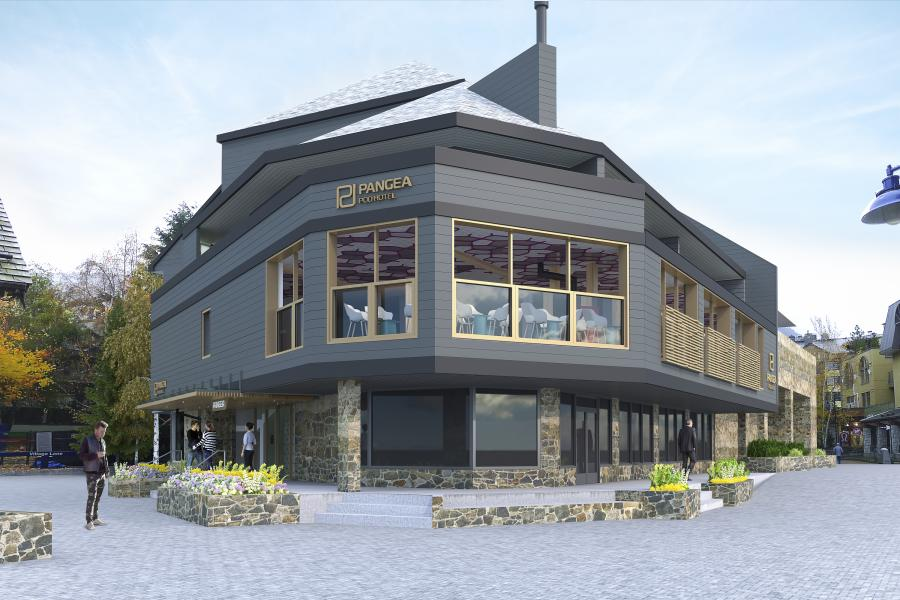 Architect's rendering of the exterior of the Pangea Pod Hotel in Whistler