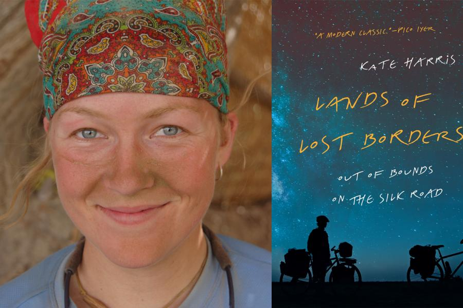 Left: Kate Harris after a day of gritty riding on the Silk Road in 2011. Right: Harris' travel memoir, Lands of Lost Borders, is published today. (Photo: Melissa Yule)