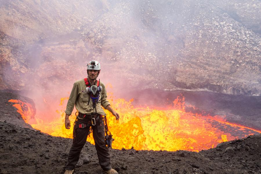 George Kourounis inside the Marum crater of Ambrym volcano, Vanuatu