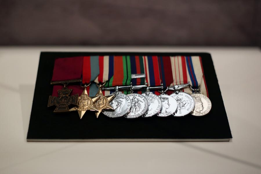 The Victoria Cross medal set awarded to Lieutenant-Colonel David Vivian Currie, on display in the Canadian War Museum