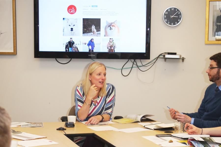 Environment and Climate Change Minister Catherine McKenna met with Canadian Geographic editor Aaron Kylie and other members of the Can Geo editorial team in January to brainstorm ideas for the November/December 2018 issue.