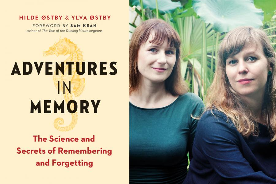 Ylva and Hilde Østby, and the cover of the their new book, Adventures in Memory