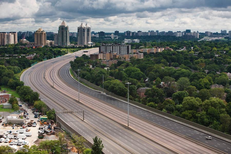 Empty highway 401 Toronto