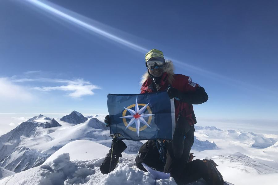 Laval St. Germain with RCGS flag on Mount Vinson