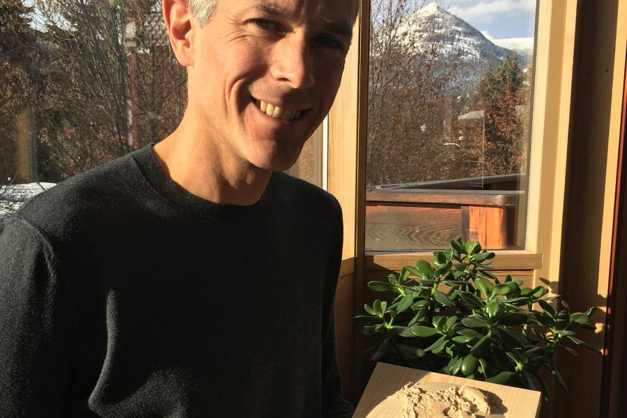 Mark Jeffery holds one of his goodwoodglobes prototypes at his home in Rossland, B.C.