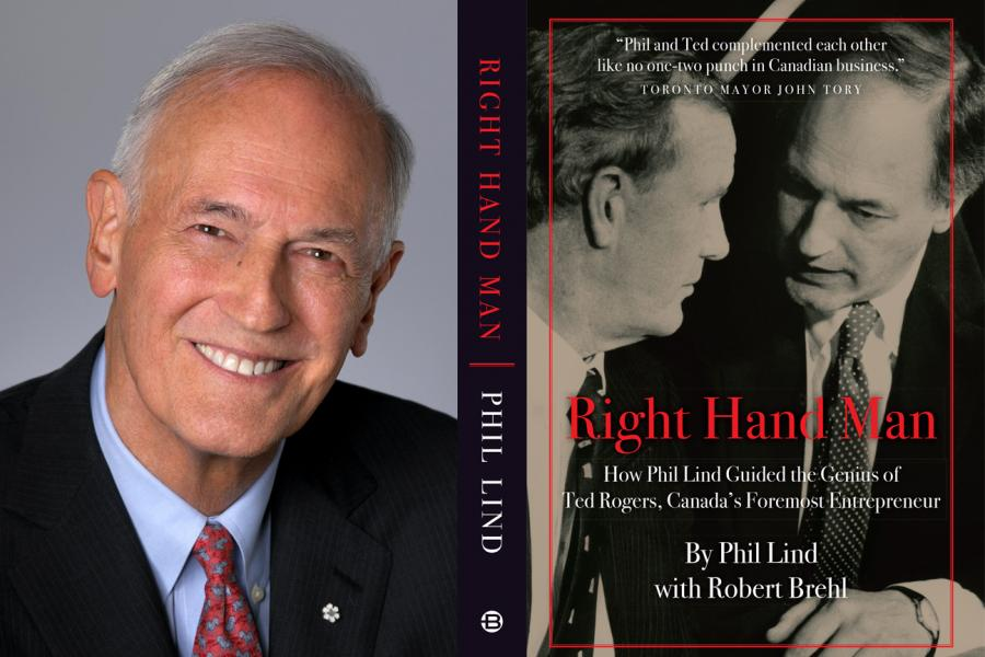 "Phil Lind headshot with book cover of ""right hand man"""