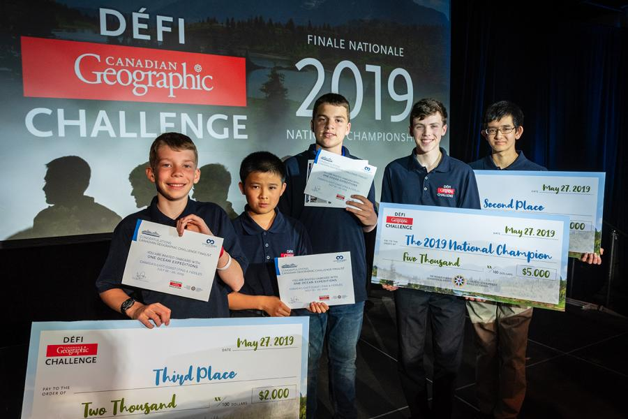 The top five finalists in the 2019 Canadian Geographic Challenge