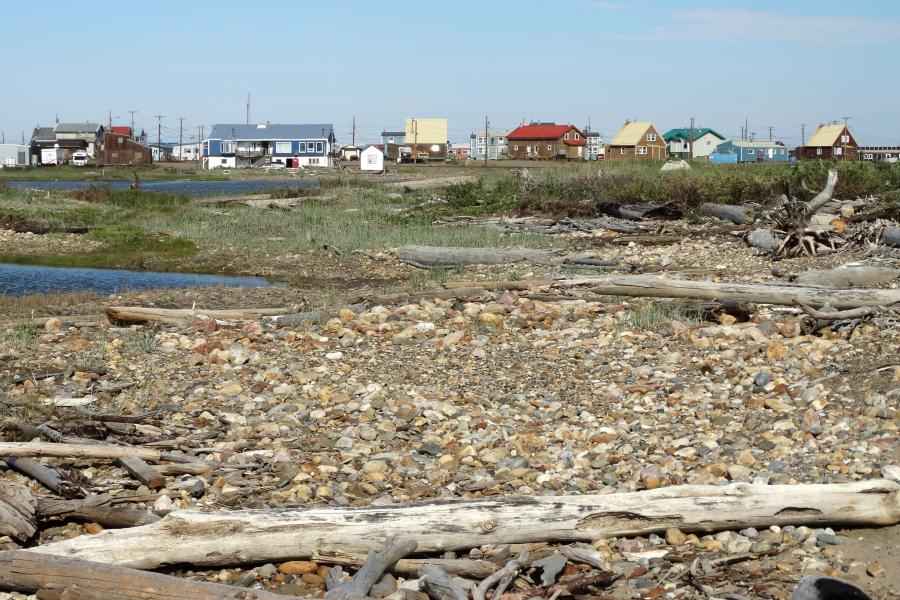 A view of the shoreline in Tuktoyaktuk, N.W.T.