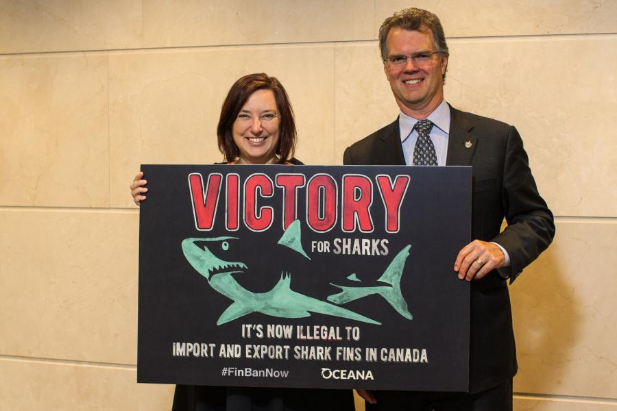 Kim Elmslie, Campaign Director, Oceana Canada with MP Fin Donnelly
