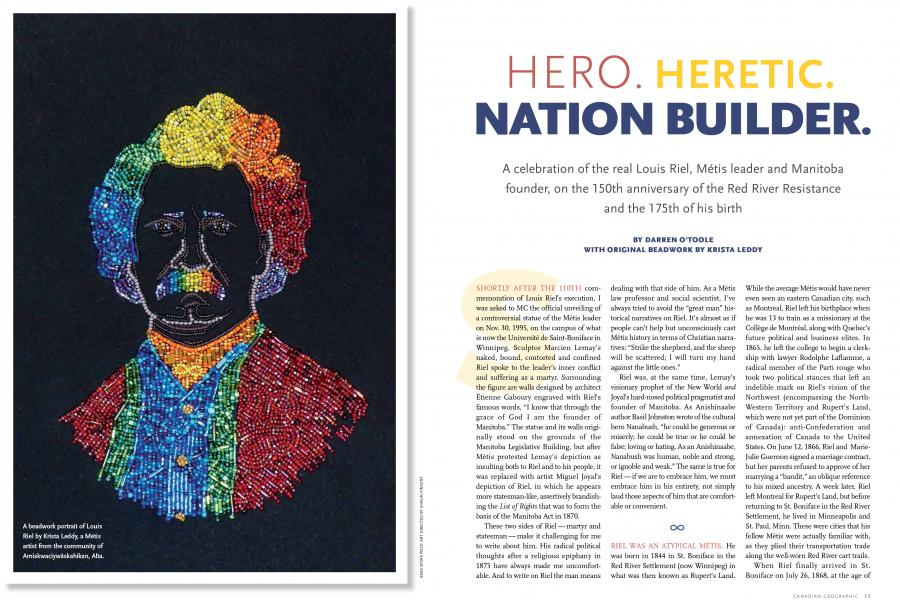 a beadwork of portrait of Louis Riel in the July/August 2019 issue